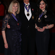 London,England,UK. 31th March 2017: St James Dyson, Lady Dyson and Grace Bardin  winners of the Athene Festival 2017 at Guildhall,London,UK. by See Li