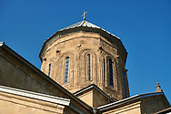 Pictures & images of the Eastern Orthodox Georgian Samtavro Transfiguration Church and Nunnery of St. Nino in Mtskheta, Georgia. A UNESCO World Heritage Site.<br /> <br /> The small domed church of the Samtavro Monastery was originally built in the 4th century. The first Georgian Christian monarchs,  King Mirian and Qween Nana are buried here. .<br /> <br /> Visit our MEDIEVAL PHOTO COLLECTIONS for more   photos  to download or buy as prints https://funkystock.photoshelter.com/gallery-collection/Medieval-Middle-Ages-Historic-Places-Arcaeological-Sites-Pictures-Images-of/C0000B5ZA54_WD0s<br /> <br /> Visit our REPUBLIC of GEORGIA HISTORIC PLACES PHOTO COLLECTIONS for more photos to browse, download or buy as wall art prints https://funkystock.photoshelter.com/gallery-collection/Pictures-Images-of-Georgia-Country-Historic-Landmark-Places-Museum-Antiquities/C0000c1oD9eVkh9c