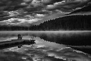 Soul searching on foggy morning at Patricia Lake, Jasper.