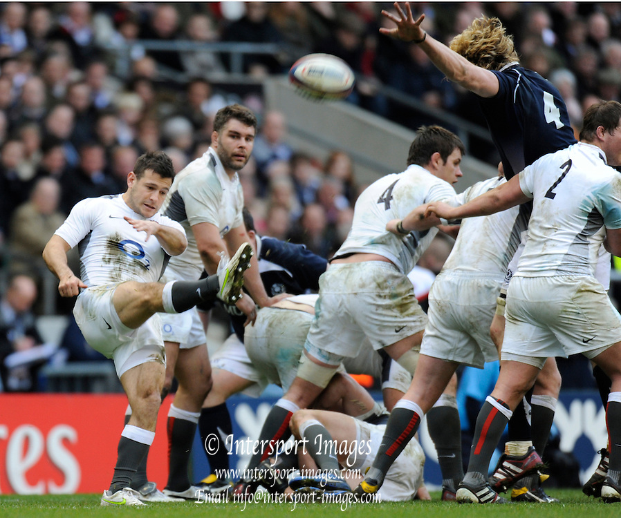 Twickenham, GREAT BRITAIN,   Englands' Danny CARE kicking clear during the 2011 Six Nations Rugby match, England vs Scotland. Played at the RFU Stadium Twickenham, Surrey on Sunday  13/03/2011 [Mandatory Credit, Peter Spurrier/Intersport-images]