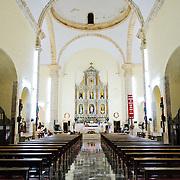 Interior of the Cathedral of Nuestra Señora de la Asunción in Valladolid, Yucatan, Mexico.