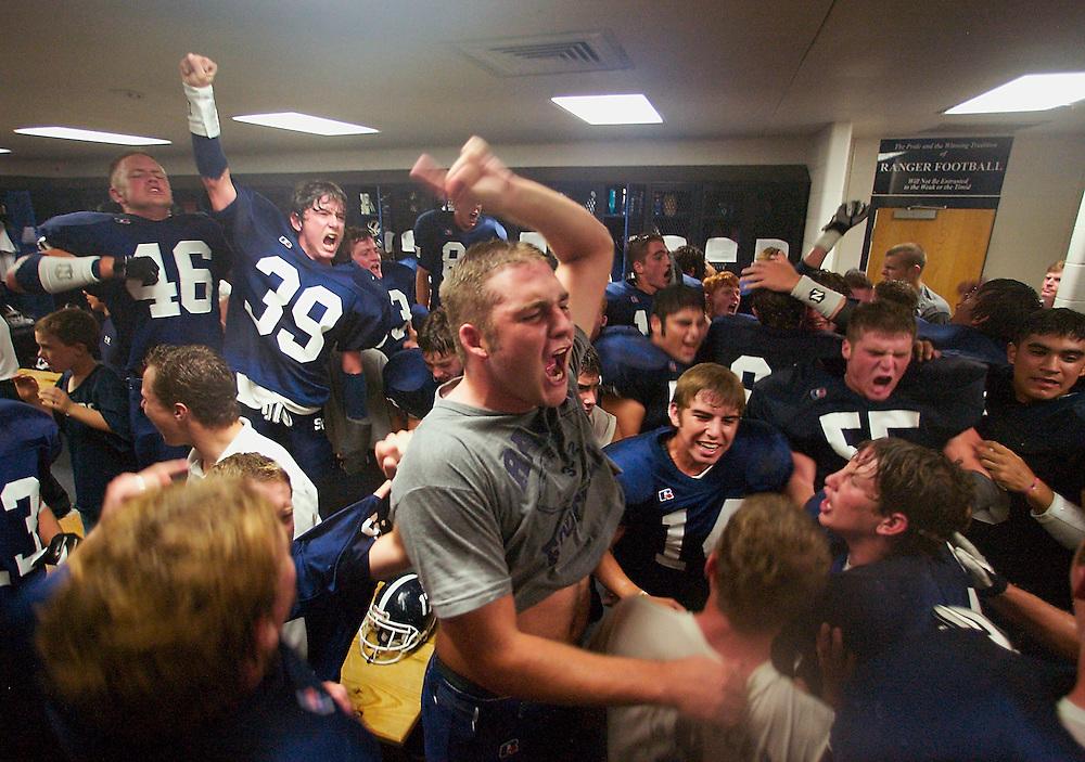 Smithson Valley high school locker room following a football victory over rival Westlake. Photograph © 2004 Darren Carroll