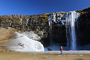 The mighty Seljalandfoss waterfall in southern Iceland in March 2013, covered in ice.