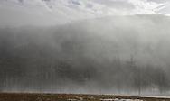 Salisbury Mills, New York - Fog blows past the side of Schunnemunk Mountain on a warm winter day on Jan. 2, 2010.
