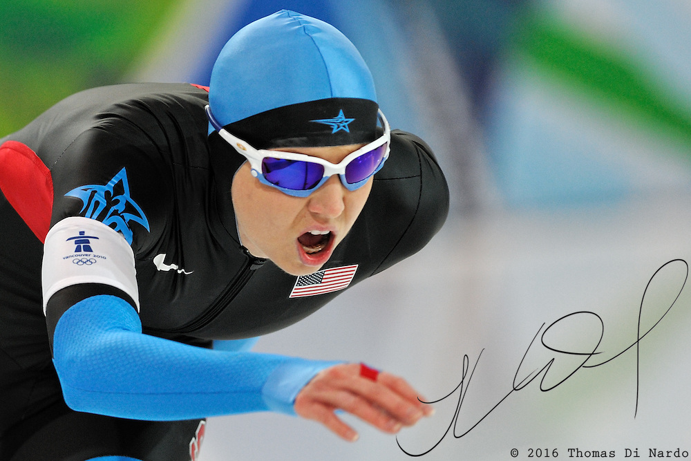 February 17, 2009 - 2010 Winter Olympics - Speedskating - Rebekah Bradford competes in the 1000m distance held at the Richmond Olympic Oval.