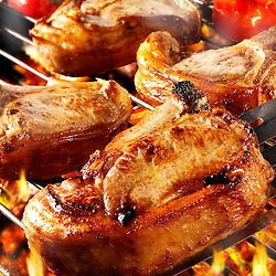 BBQ Lamb cutlets being cooked. Funky Stock library images of bbq food.