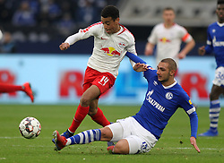 March 16, 2019 - Gelsenkirchen, Germany - Ahmed Kutucu of Schalke 04, right, and Tyler Adams of Leipzig are seen in action during the German Bundesliga soccer match between FC Schalke 04 and RB Leipzig in Gelsenkirchen. (Credit Image: © Osama Faisal/SOPA Images via ZUMA Wire)