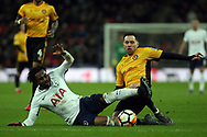 Danny Rose of Tottenham Hotspur (L) is tackled by Robbie Willmott of Newport County (R). The Emirates FA Cup, 4th round replay match, Tottenham Hotspur v Newport County at Wembley Stadium in London on Wednesday 7th February 2018.<br /> pic by Steffan Bowen, Andrew Orchard sports photography.