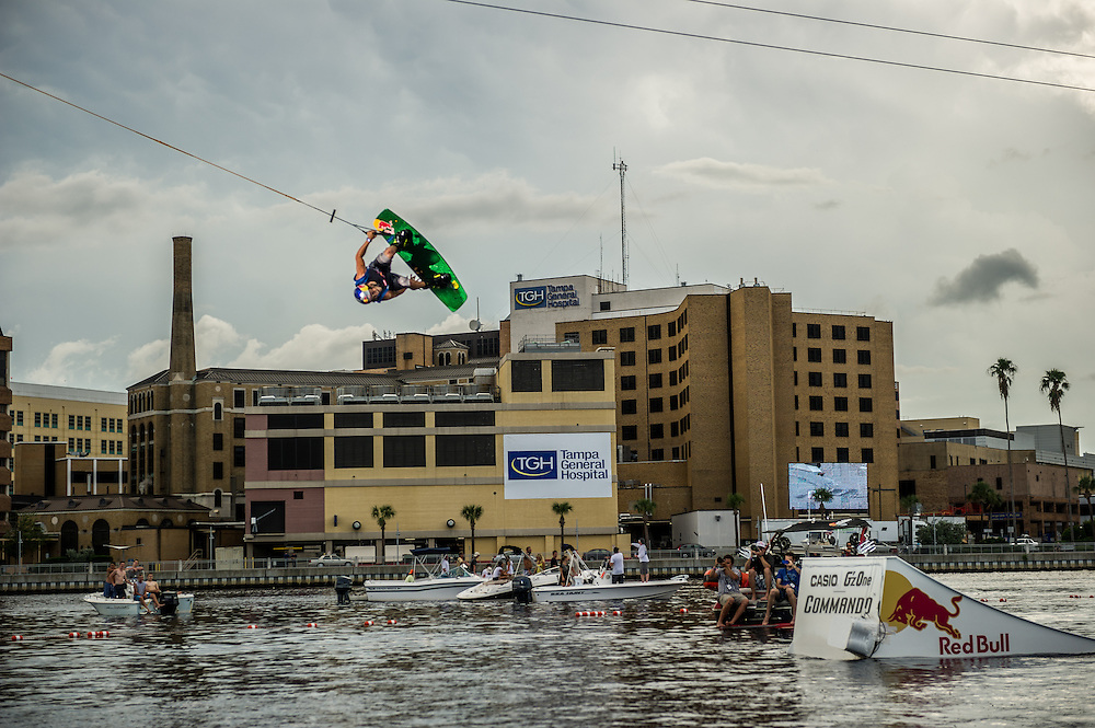 Dominik Hernler performs  at RedBull Wake Open in Tampa, Florida on July 13th, 2012.