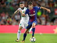 FC Barcelona's Sergi Roberto and Chapecoense's Arthur Caike during Joan Gamper Trophy. August 7,2017. (ALTERPHOTOS/Acero)