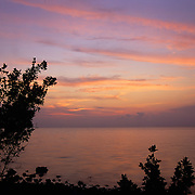 Colorful tropical sunrise over the Atlantic Ocean on Elliott Key, Biscayne National park, Miami, FL.