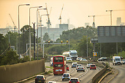 London, United Kingdom, July 26, 2021: A general picture looking at west London from Ripple Road walkover shows cranes and transport in A13 on Monday, July 26, 2021. (VX Photo/ Vudi Xhymshiti)