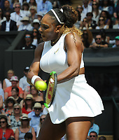 Tennis - 2019 Wimbledon Championships - Week Two, Thursday (Day Ten)<br /> <br /> Women's Singles, Semi-Final: Serena Williams (USA) vs. Barbora Strycova (CZE)<br /> <br /> Serena Williams on Centre Court.<br /> <br /> COLORSPORT/ANDREW COWIE