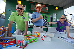 07 May 2016. New Orleans, Louisiana.<br /> NPSL Soccer, Pan American Stadium.<br /> U10 Jesters team Purple parents man the concession stand before kick off for the first game of the season as the New Orleans Jesters take on the Houston Hurricanes. Jesters win 3-0. <br /> Photo; Charlie Varley/varleypix.com