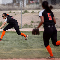 Gallup Bengal Mariah Plummer (8) chases down a fly ball from the Bloomfield Bobcats Thursday at Gallup High School.