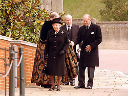 File photo dated 05/11/04 of Queen Elizabeth II and the Duke of Edinburgh arriving for the funeral of her aunt Princess Alice, Duchess of Gloucester at St George's Chapel, Windsor. Windsor Castle has been the setting for many funerals for the British monarchy, with the Duke of Edinburgh's service to be the first in 16 years. Issue date: Friday April 16, 2021.