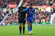 Referee Robert Madley checks where Riyad Mahrez of Leicester City has placed the ball. Premier league match, Stoke City v Leicester City at the Bet365 Stadium in Stoke on Trent, Staffs on Saturday 4th November 2017.<br /> pic by Chris Stading, Andrew Orchard sports photography.