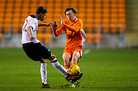 Blackpool's Nathan Shaw is tackled by Derby County's Callum Minkley<br /> <br /> Photographer Alex Dodd/CameraSport<br /> <br /> The FA Youth Cup Third Round - Blackpool U18 v Derby County U18 - Tuesday 4th December 2018 - Bloomfield Road - Blackpool<br />  <br /> World Copyright © 2018 CameraSport. All rights reserved. 43 Linden Ave. Countesthorpe. Leicester. England. LE8 5PG - Tel: +44 (0) 116 277 4147 - admin@camerasport.com - www.camerasport.com