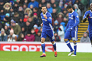 Pedro of Chelsea celebrates after scoring his teams 1st goal. Premier league match, Burnley v Chelsea at Turf Moor in Burnley, Lancs on Sunday 12th February 2017.<br /> pic by Chris Stading, Andrew Orchard Sports Photography.