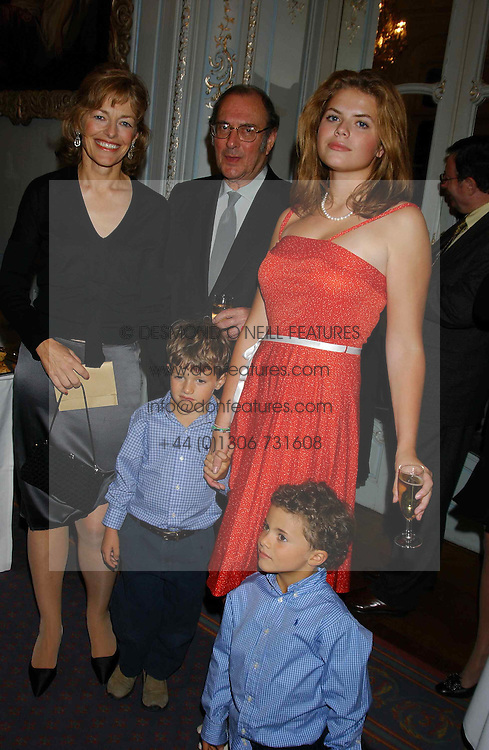 FLORA FRASER, SIR HAROLD PINTER, STELLA POWELL-JONES and SIMON & TOMMY SOROS at a party to celebrate the publication of 'Princesses' the six daughters of George 111 by Flora Fraser held at the Saville Club, Brook Street, London W1 on 14th September 2004.<br />