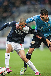 Falkirk's Phil Roberts and Dundee's Kyle Benedictus.<br /> Falkirk 2 v 0 Dundee, Scottish Championship game at The Falkirk Stadium.<br /> © Michael Schofield.