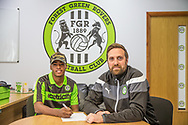 Reece Brown(left) pictured with club secretary James Mooney signs a contract with Forest Green Rovers  at the New Lawn, Forest Green, United Kingdom on 1 June 2017. Photo by Shane Healey.
