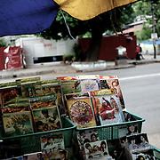 May 19, 2013 - Yangon, Myanmar: A street stall, in central Yangon, sells Myanmar's anti-Muslim movement 969 propaganda DVDs. (Paulo Nunes dos Santos/Polaris)