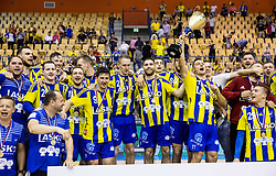 Luka Zvizej and other players of Celje celebrate as National Champions 2017 during trophy ceremony after handball match between RK Celje Pivovarna Lasko and RK Gorenje Velenje in Last Round of 1. Liga NLB 2016/17, on June 2, 2017 in Arena Zlatorog, Celje, Slovenia. Photo by Vid Ponikvar / Sportida