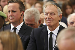 September 30, 2016 - Jerusalem, ISRAEL - Former British Prime Ministers Tony Blair, right, and David Cameron, left, attend the funeral ceremony for Israel's former President Shimon Peres in Jerusalem, Friday, Sept. 30, 2016. Shimon Peres was laid to rest on Friday in a ceremony attended by thousands of admirers and dozens of international dignitaries √¢'Ǩ≈°√جø¬Ω√جø¬Ω√É¬Æ in a final tribute to a man who personified the history of Israel during a remarkable seven-decade political career and who came to be seen by many as a visionary and symbol of hopes of Mideast peace. (Credit Image: © Prensa Internacional via ZUMA Wire)