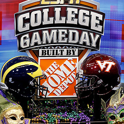 January 3, 2012; New Orleans, LA, USA;  A detailed view of the set of ESPN College Gameday prior to kickoff of the Sugar Bowl between the Michigan Wolverines and the Virginia Tech Hokies at the Mercedes-Benz Superdome.  Mandatory Credit: Derick E. Hingle-US PRESSWIRE