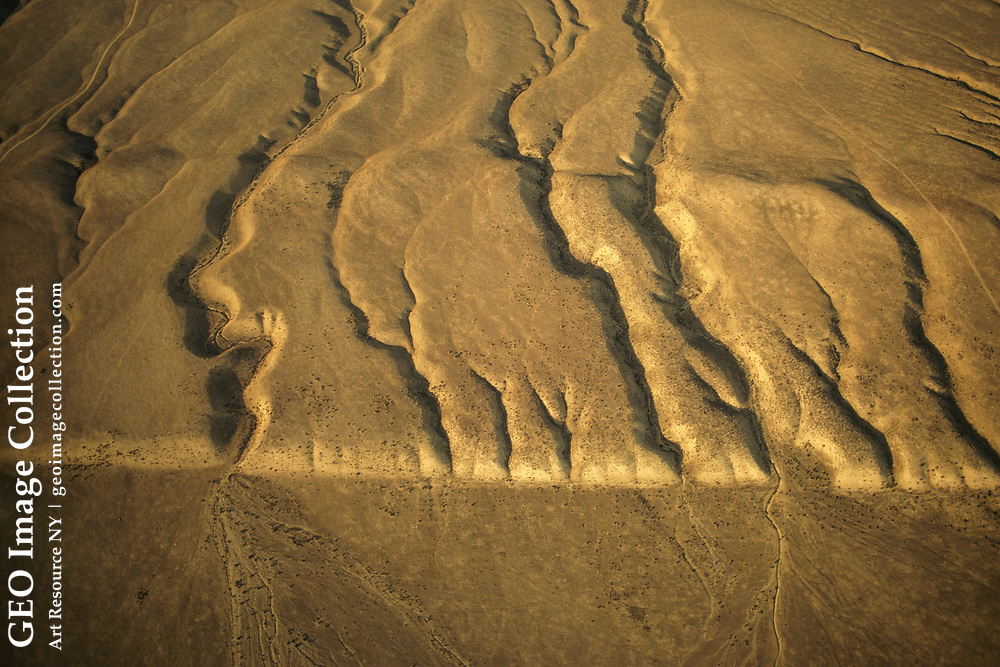 Aerial view of Carrizo Plain in southern California.  Most of the offset probab ly occurred in the Fort Tejon quake of 1857.