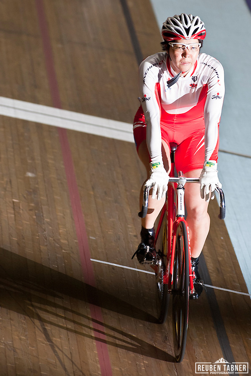 Ryoko Nakagawa of Japan in the Women's Keirin. ..UCI Track Cycling World Cup, in Manchester.