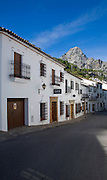Limestone mountain peaks tower over the Village of Grazalema, Cadiz province, Spain