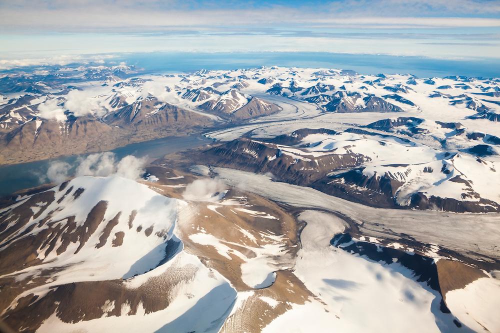 Paulabreen and Skobreen glaciers flowing into Rindersbukta fjord in Spitsbergen, Svalbard.