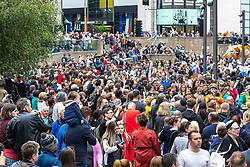 © Licensed to London News Pictures . 17/06/2018. Manchester , UK . Crowds fill Exchange Square to watch the parade . The 2018 Manchester Day parade , celebrating Manchester's cultural and social life and diversity, passes through Manchester City Centre . Photo credit : Joel Goodman/LNP