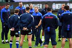 Bath Head Coach Neal Hatley speaks to his players prior to the match - Mandatory byline: Patrick Khachfe/JMP - 07966 386802 - 21/11/2020 - RUGBY UNION - The Recreation Ground - Bath, England - Bath Rugby v Newcastle Falcons - Gallagher Premiership