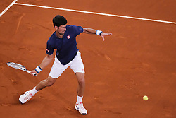 May 11, 2017 - Madrid, Spain - Novak Djokovic  of  Served against Feliciano Lopez  of Spain  during day six of the Mutua Madrid Open tennis at La Caja Magica on May 11, 2017 in Madrid, Spain  (Credit Image: © Oscar Gonzalez/NurPhoto via ZUMA Press)
