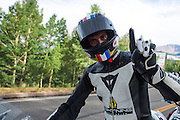 June 30, 2013 - Pikes Peak, Colorado. Carlin Dunne celebrates after the 91st running of the Pikes Peak Hill Climb.