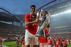 May 13, 2017 - Lisbon, Lisbon, Portugal - Benfica's forward Raul Jimenez from Mexico celebrating the tetra title with his team mates after the match between SL Benfica and Vitoria SC for the Portuguese Primeira Liga at Estadio da Luz on May 13, 2017 in Lisbon, Portugal. (Credit Image: © Dpi/NurPhoto via ZUMA Press)
