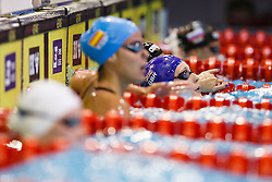 Francesca Halsall of Great Britain looks up after she wins the Gold medal in the Womens 50m Backstroke Final - Photo mandatory by-line: Rogan Thomson/JMP - 07966 386802 - 23/08/2014 - SPORT - SWIMMING - Berlin, Germany - Velodrom im Europa-Sportpark - 32nd LEN European Swimming Championships 2014 - Day 11.