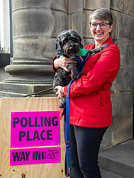 Pictured: Maggie Chapman was joined by Dougal the rescue dog for the important vote<br /><br />Maggie Chapman, number one on the Scottish Greens list of EU candidates was up early to welcome voters at Portobello Town Hall.<br /><br />Ger Harley | EEm 23 May 2019
