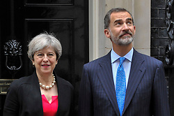 © Licensed to London News Pictures. 13/07/2017. London, UK. King Felipe V1 of Spain, on a State Visit to the UK, arrives at Downing Street for bilateral talks with Theresa May, Prime Minister.   Photo credit : Stephen Chung/LNP