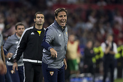 November 1, 2017 - Seville, Spain - Eduardo Berizzo, head coach of Sevilla, screams during the UEFA Champions League Group E soccer match between Sevilla FC and Spartak Moskva at Estadio Ramon Sanchez Pizjuan (Credit Image: © Daniel Gonzalez Acuna via ZUMA Wire)