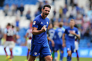 Cardiff city capt Sean Morrison celebrates his teams 3-0 win at the end of the match as his team go top of the league. EFL Skybet championship match, Cardiff city v Aston Villa at the Cardiff City Stadium in Cardiff, South Wales on Saturday 12th August 2017.<br /> pic by Andrew Orchard, Andrew Orchard sports photography.