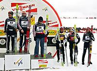 Langrenn,  12. januar 2005, FIS Verdenscup,, Reit im Winkl,<br /> Evgenia Medvedeva-Abruzova (RUS), Olga Savialova (RUS), Julija Tchepalova (RUS), Marit Bjørgen (NOR), Kristina Smigun (EST), Natalia Baranova-Masolkina (RUS)