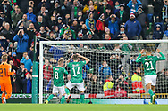 Northern Ireland midfielder Steven Davis (8) takes a penalty and misses over the bar during the UEFA European 2020 Qualifier match between Northern Ireland and Netherlands at National Football Stadium, Windsor Park, Northern Ireland on 16 November 2019.