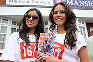 two ladies promoting CPFC Membership 2016/17 tickets outside Selhurst Park before k/o. Barclays Premier League match, Crystal Palace v Stoke City at Selhurst Park in London on Saturday 7th May 2016. pic by John Patrick Fletcher, Andrew Orchard sports photography.