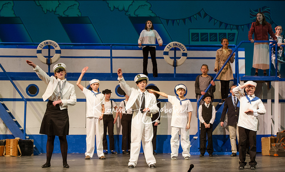 """""""Captain"""" Carter Laliberte along with his crew wave bon voyage as the S. S. American leaves New York for London during dress rehearsal for Anything Goes with Gilford Middle School on Monday afternoon.   (Karen Bobotas/for the Laconia Daily Sun)"""