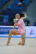 Uchida Katherine during qualifying at ball in Pesaro World Cup 01 April 2016. Katherine is a canadian individual rhythmic gymnast, was born in Markham, 1999.