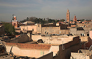 Rooftops and minarets of the medina, Marrakech, Morocco